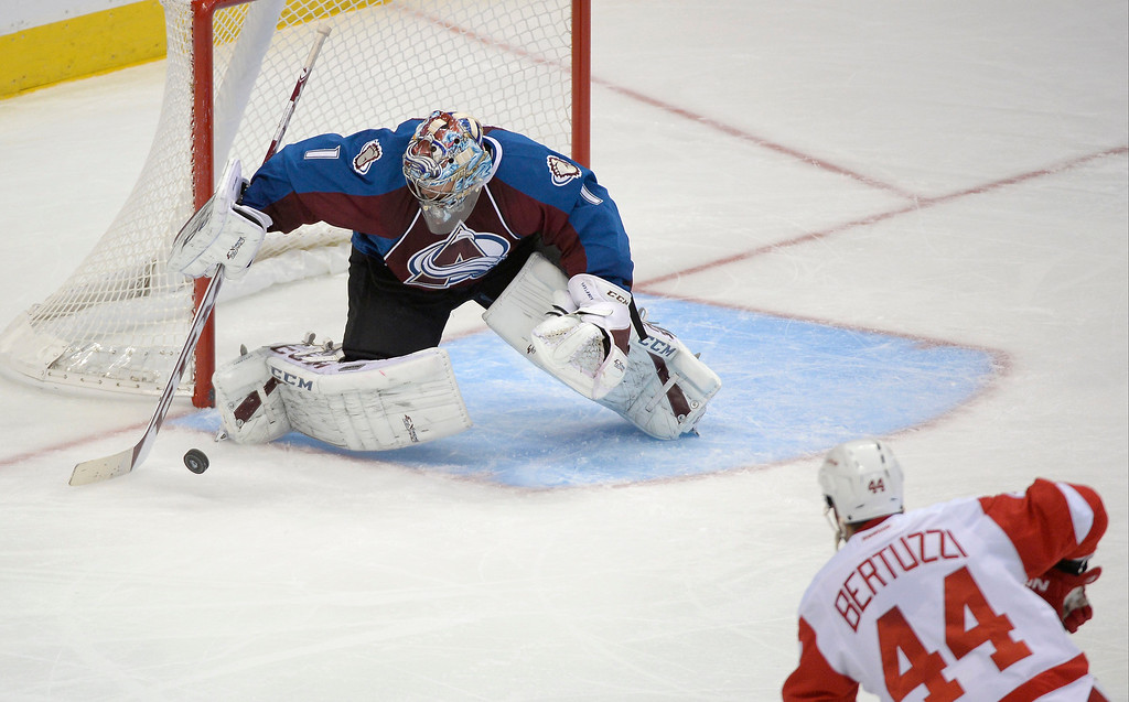 . Colorado Avalanche goalie Semyon Varlamov (1) makes a save on a shot by Detroit Red Wings right wing Todd Bertuzzi (44) during the second period October 17, 2013 at Pepsi Center.(Photo by John Leyba/The Denver Post)