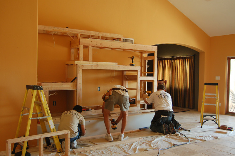 Drywall is beginning to be installed.