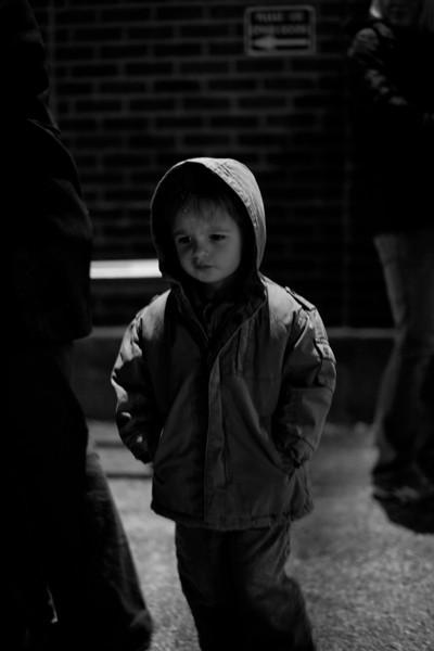 Hunter Grabiec waiting for Santa at the train depot in Mattoon, Illinois on December 10, 2011. (Jay Grabiec)