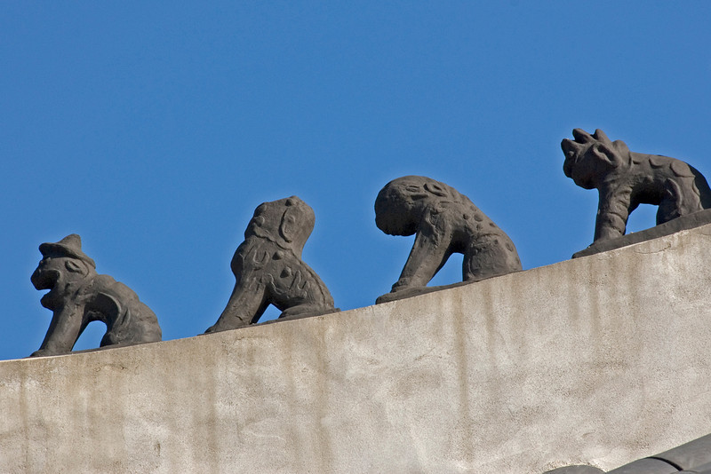 Close-up shot of roof ornaments at Changdeok Palace - Seoul, South Korea