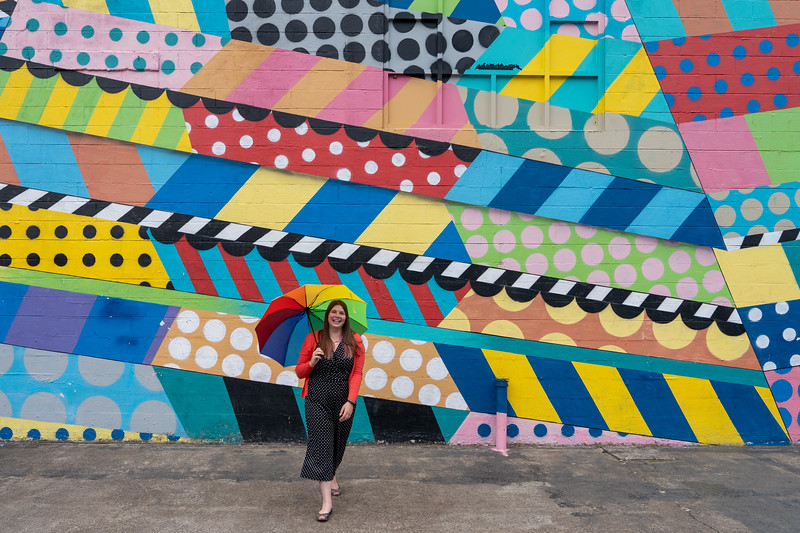 Amanda and a mural in The Gulch, Nashville