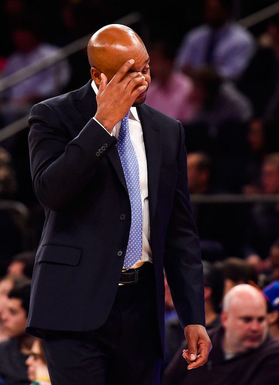 . NEW YORK, NY - NOVEMBER 16: Head coach Brian Shaw of the Denver Nuggets looks on during a game against the New York Knicks at Madison Square Garden on November 16, 2014 in New York City. NOTE TO USER: User expressly acknowledges and agrees that, by downloading and/or using this photograph, user is consenting to the terms and conditions of the Getty Images License Agreement.  (Photo by Alex Goodlett/Getty Images)