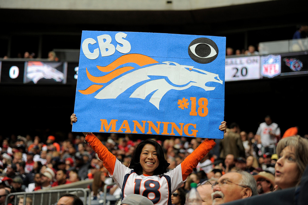 . Denver Broncos fan hold up her sign prior to the game against the Houston Texans December 22, 2013 at Reliant Stadium. (Photo by John Leyba/The Denver Post)