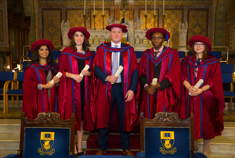 03/11/2017. Waterford Institute of Technology Conferring. Pictured are Dr Radhika Loomba, Dr Rachel Moran, Dr Colin Dillon, Dr Arnauld Mesinga Mwafise, Dr Ursula McCormack who were conferred PhD's. Picture: Patrick Browne.