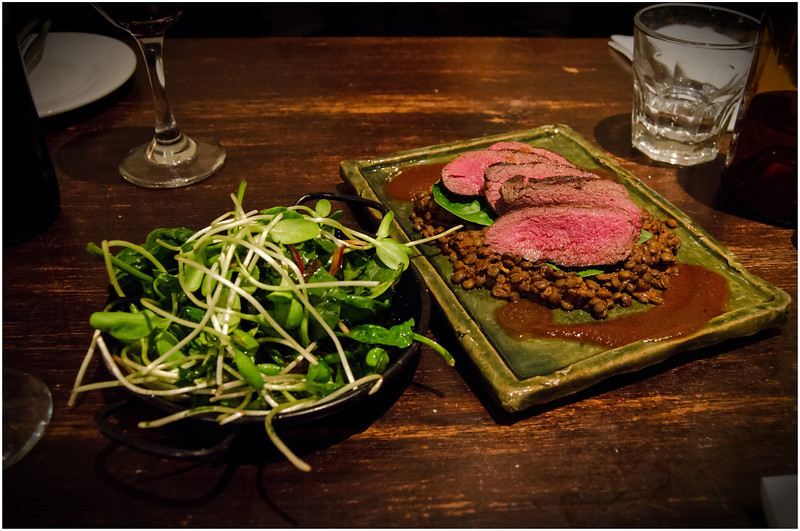 Seared venison fillet with spiced lentils @ Raincheck Lounge