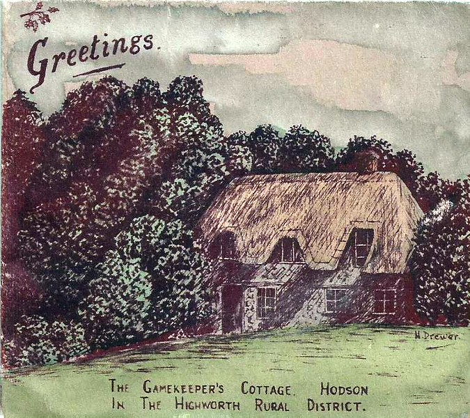 This is superb..it is a handmade card of the Keepers Cottage by H Dewer c1900