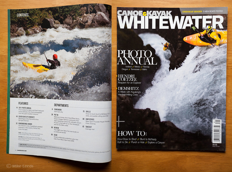 (photo left) Brian Ward in Pectoralis Major on the North Fork Payette River in Idaho during Flood. Canoe and Kayak Magazine Whitewater Annual 2011