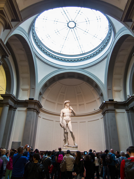 Decent size crowd viewing David at the Galleria dell'Accademia.