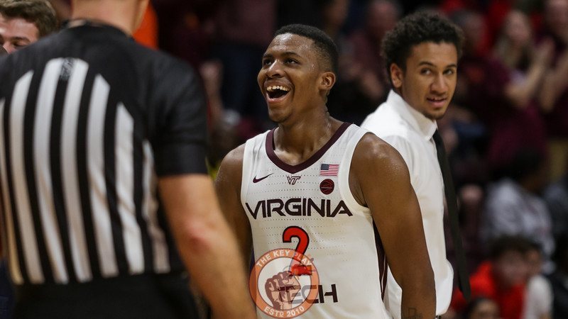 Landers Nolley is all smiles as he watches a replay with the Hokies comfortably leading NC State in the second half. (Mark Umansky/TheKeyPlay.com)