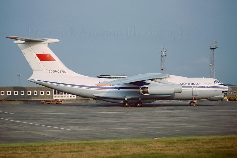 CCCP-76792. Illushin IL76TD. Aeroflot. Prestwick. October. 1991.