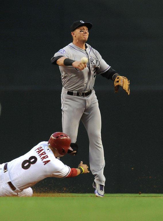 . PHOENIX, AZ - APRIL 25:  Troy Tulowitzki #2 of the Colorado Rockies attempts to turn a double play as Gerardo Parra #8 of the Arizona Diamondbacks slides into second base at Chase Field on April 25, 2013 in Phoenix, Arizona.  (Photo by Norm Hall/Getty Images)