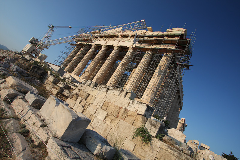 Resurrection.  Scaffolding and cranes cannot distract from the grandeur of the Parthenon of Athens, Greece.