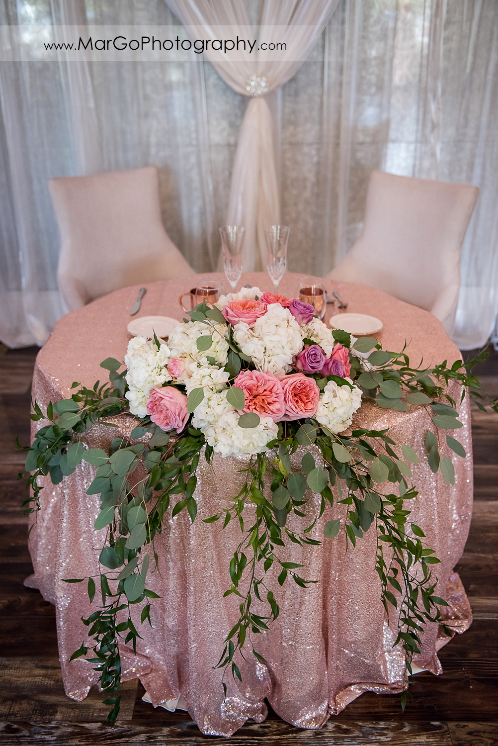 sweetheart table decor at Sunol's Casa Bella