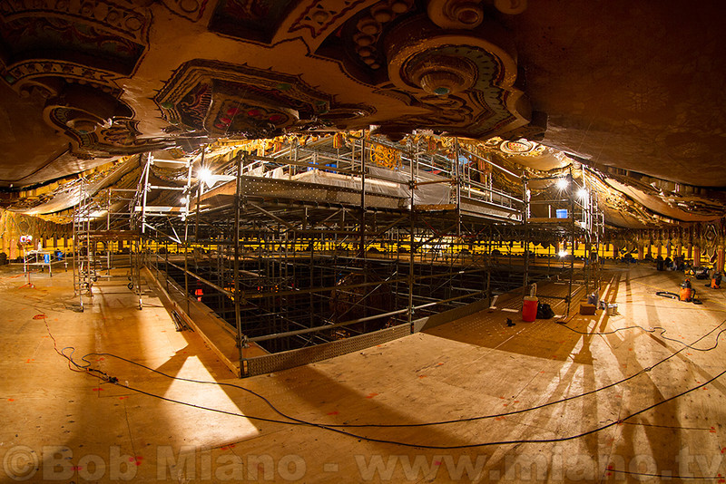 """The first of three """"floors"""" of scaffolding at the start of the auditorium ceiling."""