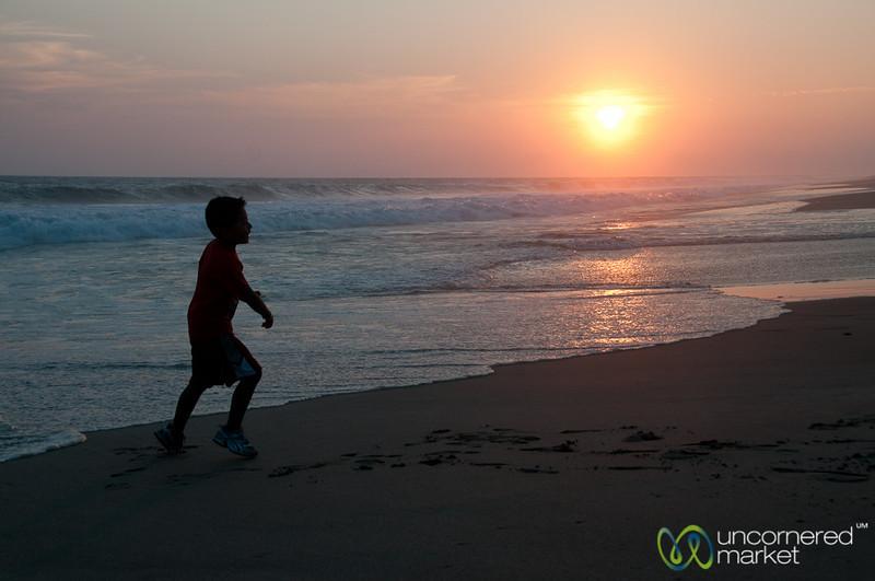 Running Along Playa La Ventanilla at Sunset - Mazunte, Mexico