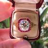3.12ct Old European Cut Diamond Ruby Halo Ring, GIA L  4
