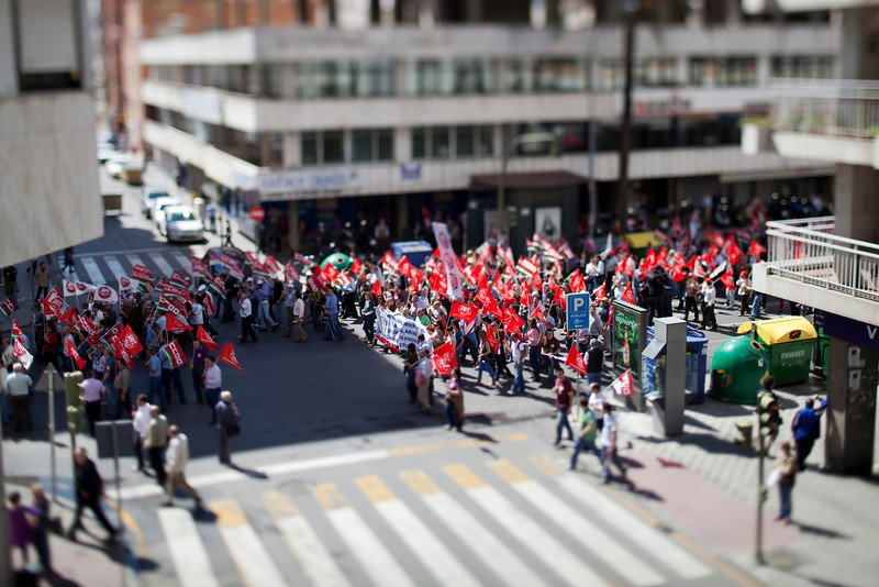 UGT and CCOO trade unions demonstration, Seville, Spain. Tilted lens used for shallow depth of field.