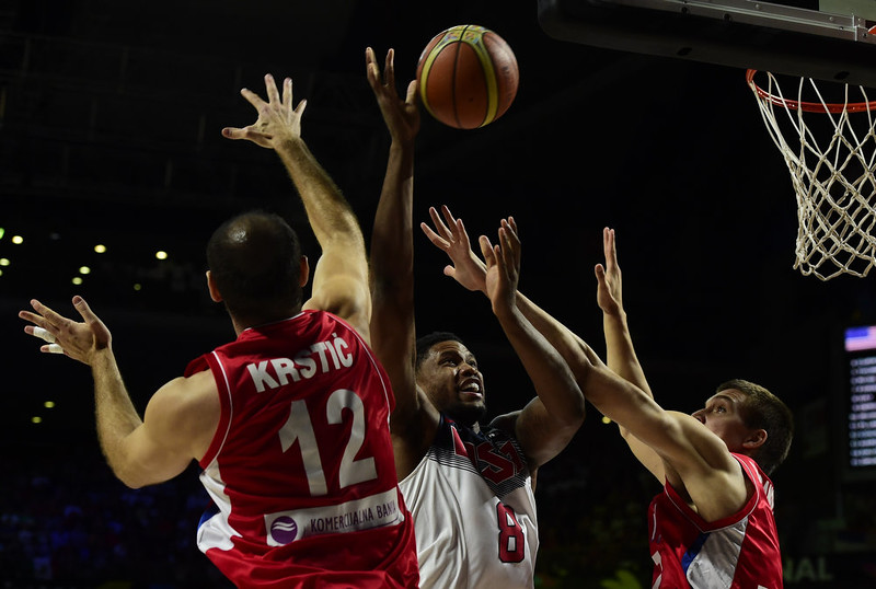 . US forward Rudy Gay (C) vies with Serbia\'s centre Nenad Krstic (L) and Serbia\'s forward Nemanja Bjelica during the 2014 FIBA World basketball championships final match USA vs Serbia at the Palacio de los Deportes in Madrid on September 14, 2014.   JAVIER SORIANO/AFP/Getty Images
