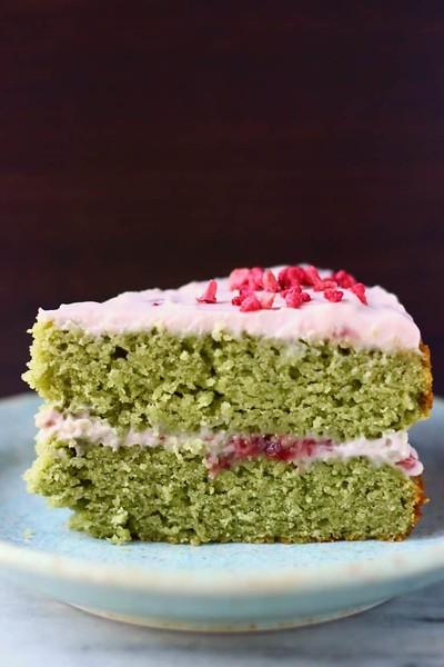 Vegan Gluten-Free Matcha Strawberry Cake