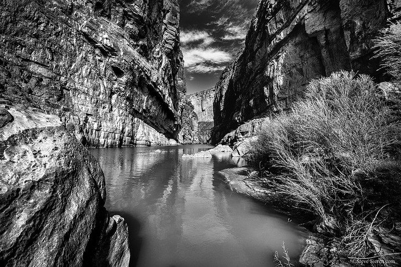 Rio Grande Santa Elena Canyon Hike Big Bend Monochrome.jpg