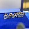 .78-.82ctw Asscher Stud Earrings, in Yellow Gold 12