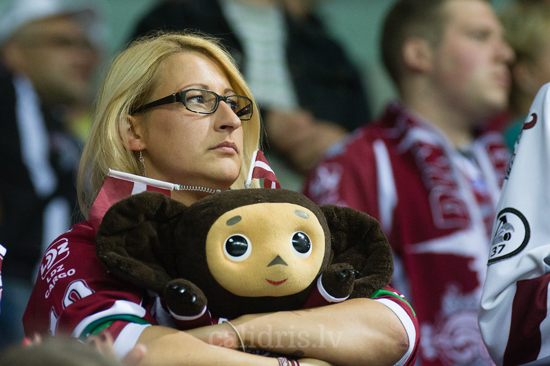 Supporter of Dinamo Riga in the KHL regular championship game between Dinamo Riga and Dynamo Moscow, played on October 3, 2016 in Arena Riga