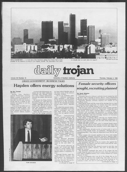 Daily Trojan, Vol. 91, No. 18, February 04, 1982