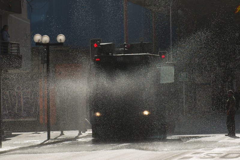 the water cannon truck - being tested as we passed.