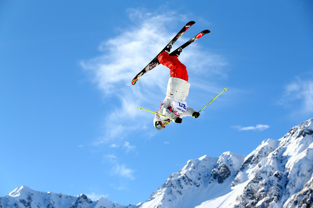 . Luca Schuler of Switzerland competes in the Freestyle Skiing Men\'s Ski Slopestyle Qualification during day six of the Sochi 2014 Winter Olympics at Rosa Khutor Extreme Park on February 13, 2014 in Sochi, Russia.  (Photo by Cameron Spencer/Getty Images)