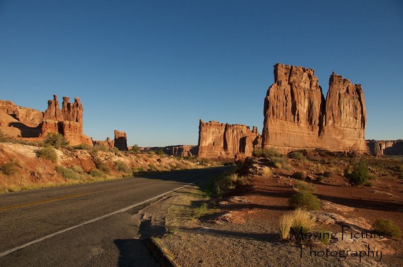 Early morning sun in Arches National Park