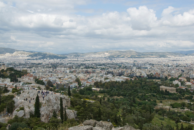 Wide shot of the city skyline at day - Athens, Greece