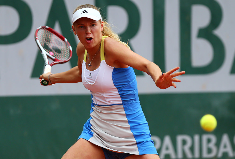 . Caroline Wozniacki of Denmark plays a forehand in her Women\'s Singles match against Bojana Jovanovski of Serbia  during day four of the French Open at Roland Garros on May 29, 2013 in Paris, France.  (Photo by Getty Images/Getty Images)