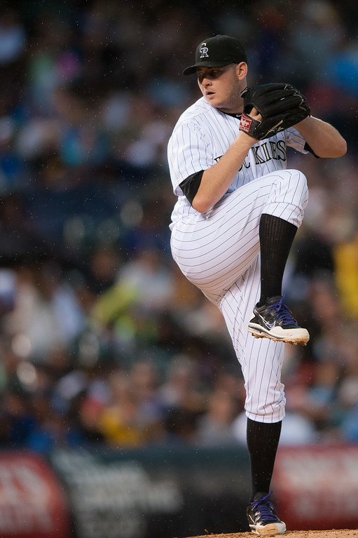 . Tyler Matzek #46 of the Colorado Rockies pitches against the Pittsburgh Pirates during a game at Coors Field on July 26, 2014 in Denver, Colorado.  (Photo by Dustin Bradford/Getty Images)