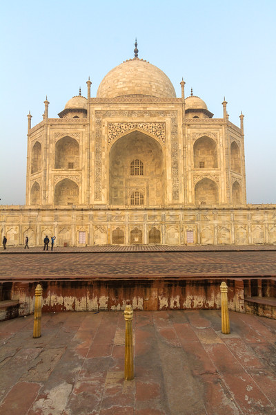 The Taj Mahal as seen from the side before sunrise