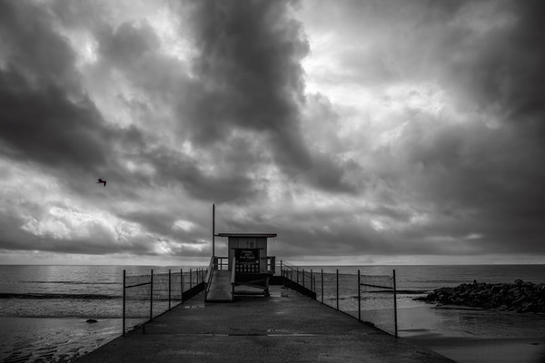 January 10 - Clouds, a lifeguard station and a bird over the Pacific Ocean.jpg