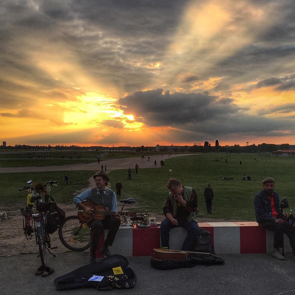 Sunset, Tempelhof airfield, Berlin. I was in a bit of a hurry when I saw this. But I just stood there in awe, stopped in my tracks. I soaked in the light and the musicians -- who not always there, just happened to be playing the blues. It was like a movie, it just happened to be mine. via Instagram http://ift.tt/1VhcDRd