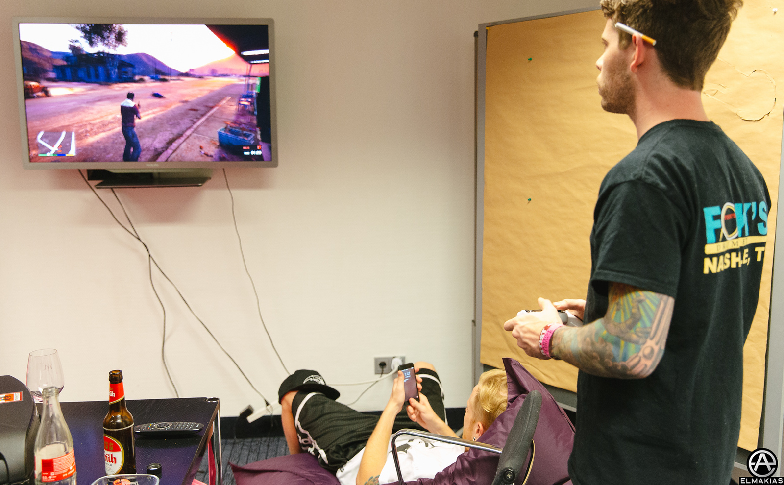 Alex and Josh of A Day To Remember gaming in Munster, Germany