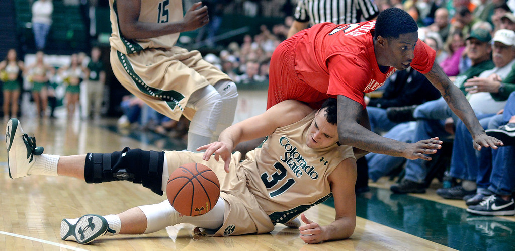 . Rams\' junior forward J.J. Avilla (31) scrambled for a loose ball as Aztecs\' forward Dwayne Polee II (5) fell out of bounds in the second half as the Colorado State men\'s basketball team fell 71-61 to San Diego State Wednesday night, January 1, 2014. Photo By Karl Gehring/The Denver Post