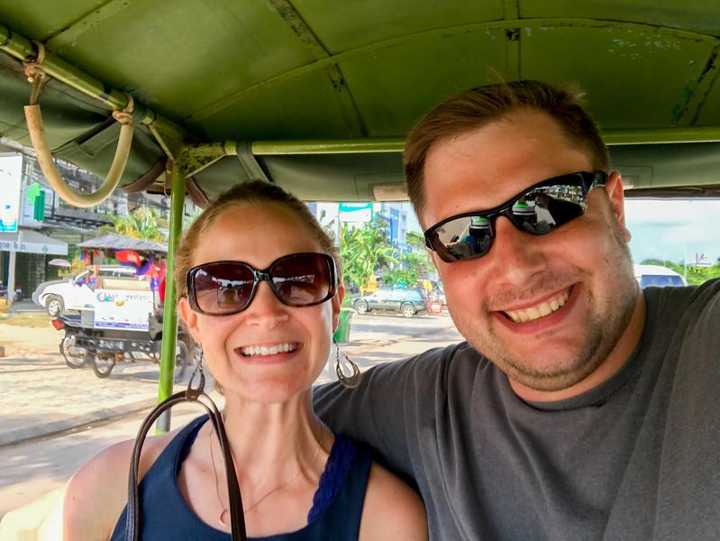 Enjoying our tuk tuk ride to the center of town.