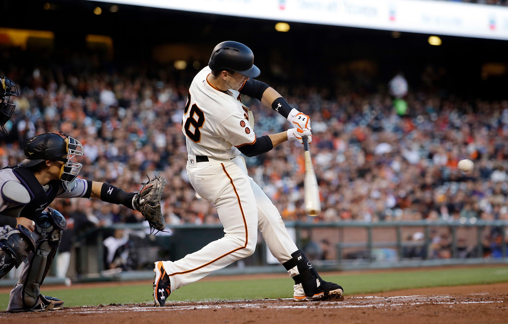 . San Francisco Giants\' Buster Posey (28) drives in two runs with a double against the Colorado Rockies during the first inning of a baseball game Thursday, May 5, 2016, in San Francisco. (AP Photo/Marcio Jose Sanchez)