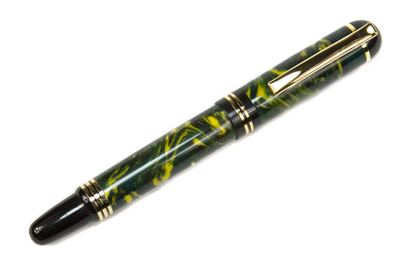 Churchill Titanium Gold Fountain Pen with Steel Forest LE