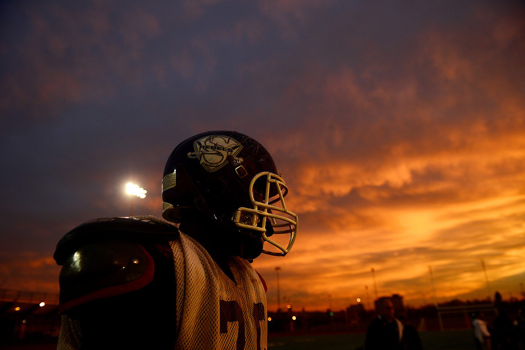 . South High\'s Sam Mabany takes a breather during practice at the school on Wednesday, November 28, 2012. AAron Ontiveroz, The Denver Post