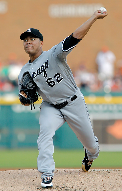. Chicago White Sox\'s Jose Quintana pitches against the Detroit Tigers during the first inning of a baseball game Tuesday, July 29, 2014, in Detroit. (AP Photo/Duane Burleson)
