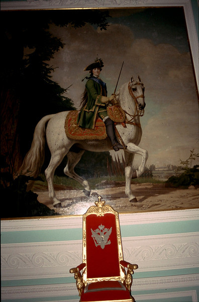 Peter the Great over his throne