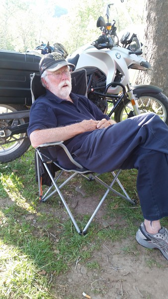 Ike Maxwell, S.O.P.P. Most High Potentate Emeritus, takes a nap in the shade.