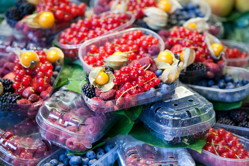 Different kinds of berries, Boqueria market, town of Barcelona, autonomous commnunity of Catalonia, northeastern Spain
