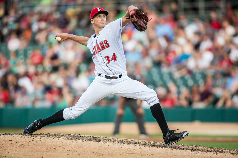 Tyler Glasnow pitches during the Indianapolis Indians game against the Charlotte Knights on August 1, 2015 (Dave Wegiel/Pinola Photography)