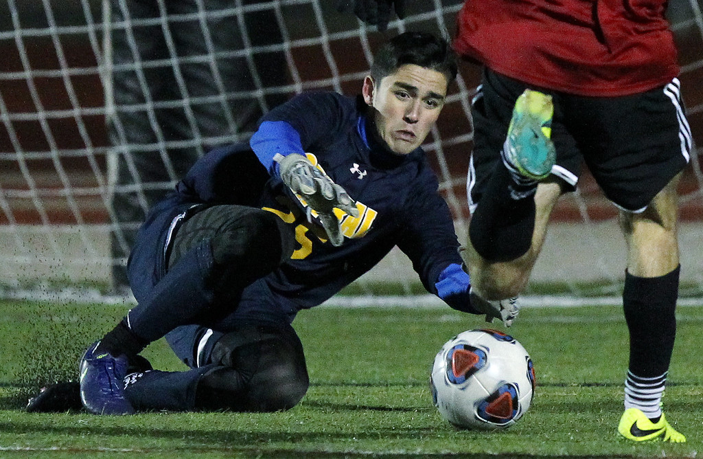 . Brian Ostapenko, makes a key save in the closing minutes of the second half during Division 1 state semifinal soccer action against Troy at Troy High School Wednesday, Nov. 1, 2017. Central would eventually go on to defeat Troy in an overtime shoot out 4-3. (For The Oakland Press / LARRY McKEE)