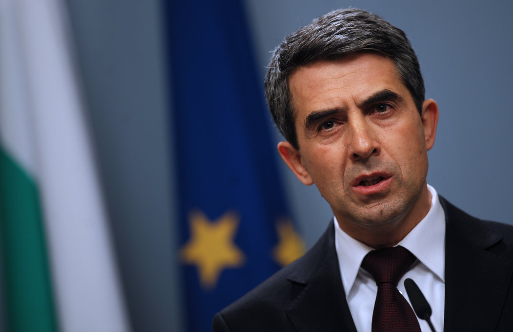 Description of . Bulgarian President Rosen Plevneliev speaks during a news conference in Sofia on February 21, 2013. Bulgaria's parliament accepted today the resignation of Prime Minister Boyko Borisov's government after days of sometimes violent protests against high electricity bills and low incomes in the EU's poorest country. NIKOLAY DOYCHINOV/AFP/Getty Images