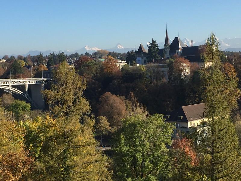 Bern bike trip view from Bern back to Eiger